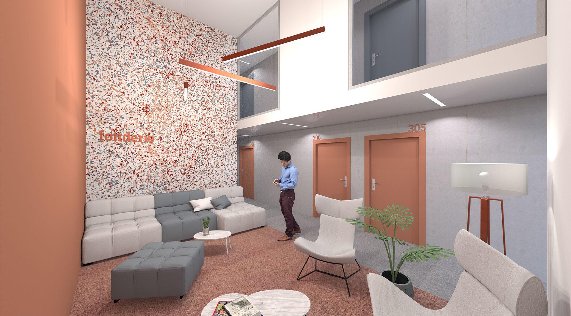 Salon de convivialité en double hauteur avec canapés et table basse dans les communs